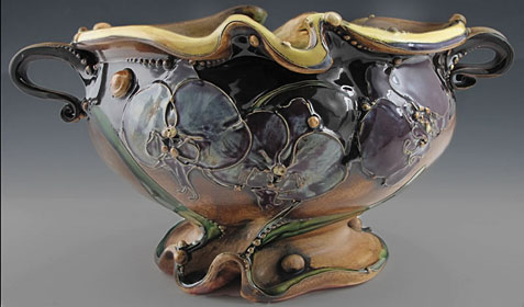 Carol Long - Pansy, Orchid and yellow Jardiniere with two handles and base