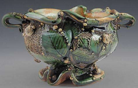 Carol-Long-ceramic Caterpillar jardiniere