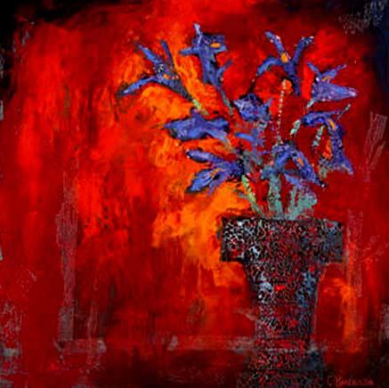 Carolyn-Harrington still life painting - blue iris