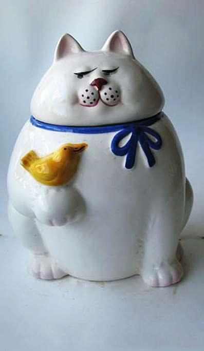 Ceramic cookie jar yellow bird sitting on white cat