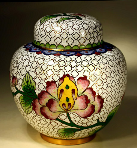 Chinese cloisonné ginger jar with floral decoration