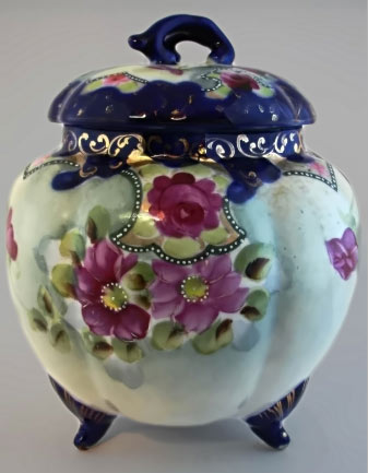 Cobalt-lid Hand-Painted-Biscuit-jar with floral decoration