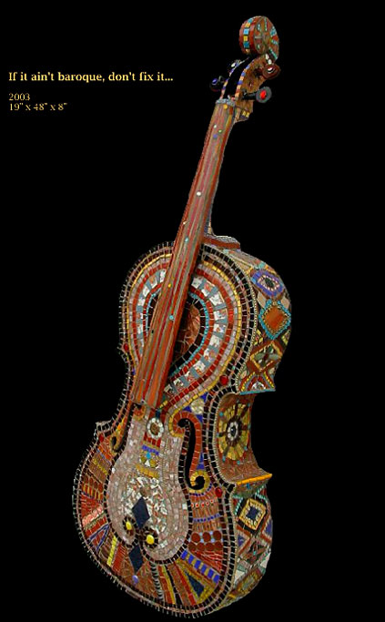 ceramic and glass mosaic cello - Irinia-Charny
