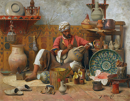 jean-discart---potter wearing a turban working in studio in Tangiers