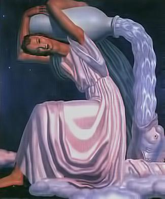 Jean Dupas painting of Aquarius the water bearer