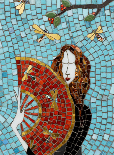 Irinia-Charny - mosaic panel - lady holding a red fan - turquoise background
