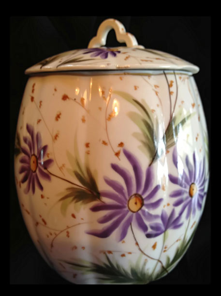 Antique handpainted porcelain biscuit jar with hand painted botanical decoration