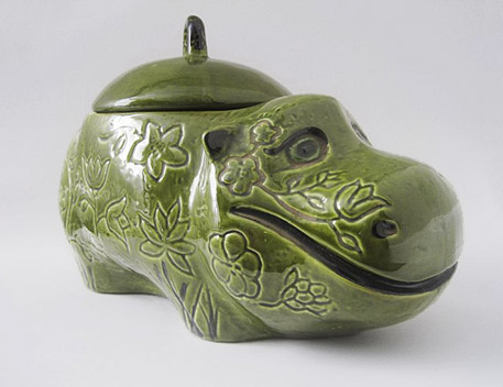 Green Ceramic Smiling Hippo cookie jar - California USA Pottery.
