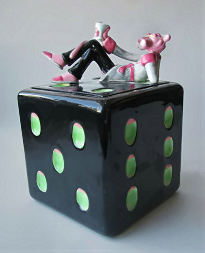 Dice-cookie jar with pink panther lid