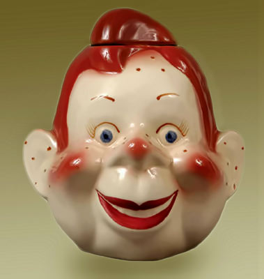 howdy doody cookie jar - smiling red head boys face