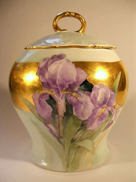 Antique Limoges Porcelain Iris motif Biscuit Jar