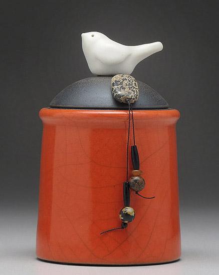 Ceramic Red Orange Bird Jar - raku fired by Davis Vachon