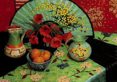 judy-drew painting of floral jug, bowl of orange fruit, fan and red flowers