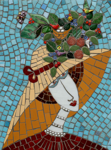 Irinia-Charny mosaic of a lady wearing a wide rime hat adorned with flowers