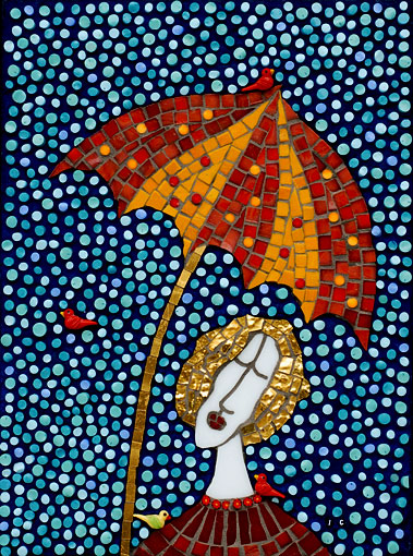Irinia-Charny-Women with gold hair holding an umbrella in the rain mosaic