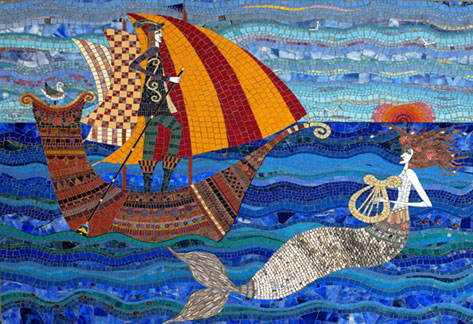 Irinia-Charny - sailor and mermaid mosaic panel