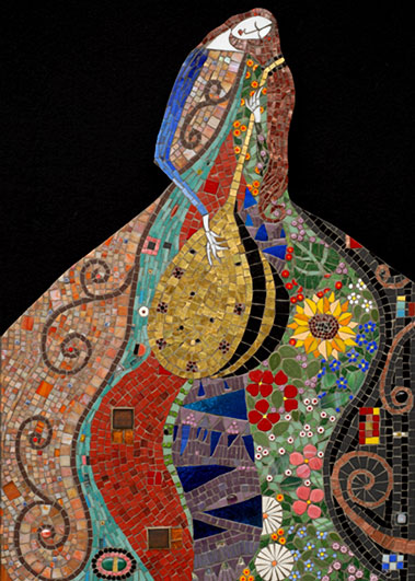 Irinia-Charny ceramic mosaic of lady playing a mandolin