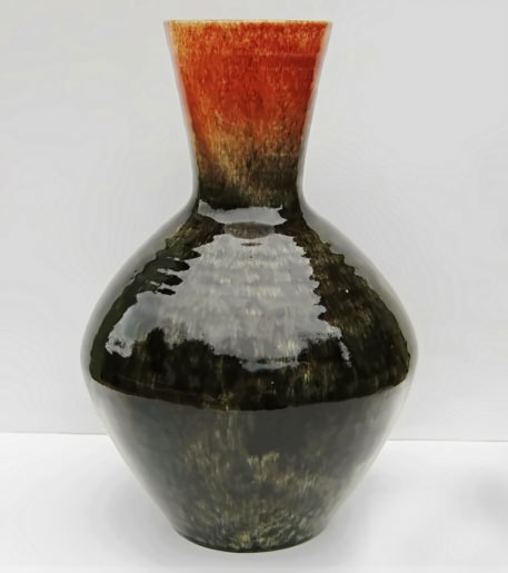 Large Mid Century Vase by Accolay, France in black and burnt orange glaze