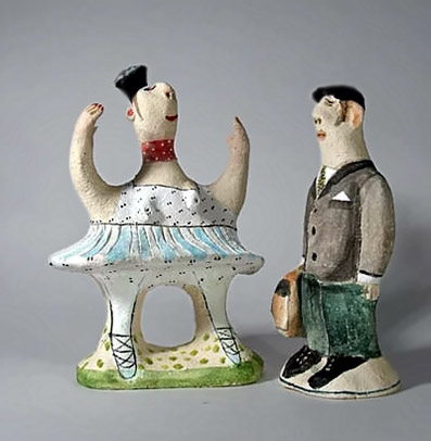 El Innocent ceramic figurines - balerina and a man with a briefcase