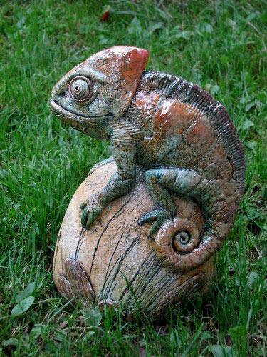 Alexey Illarionov ceramic sculpture of a lizzard