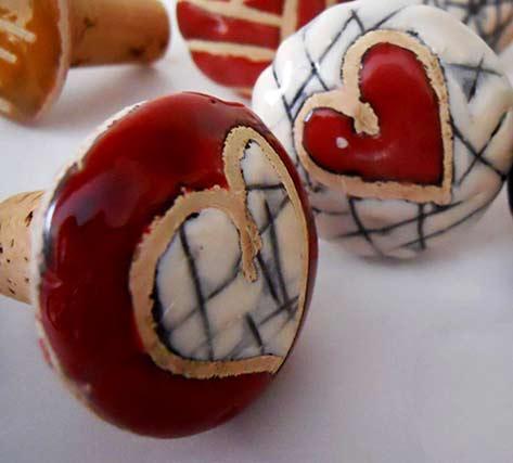 Cecelia-Ceramiche ceramic heart cork stoppers