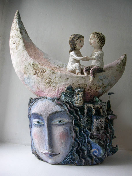 'Dreamer' - Elya Yalonetskaya - couple seated on crescent moon on top of female head