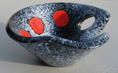 Elchinger-Ceramique modernist ceramic dish with mottled textural surface and red dots