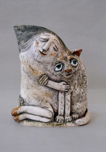 Galina-Bulganin figurine of girl holding her cat
