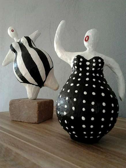 Ans Vink-paper-mache-clay-paverol-figures