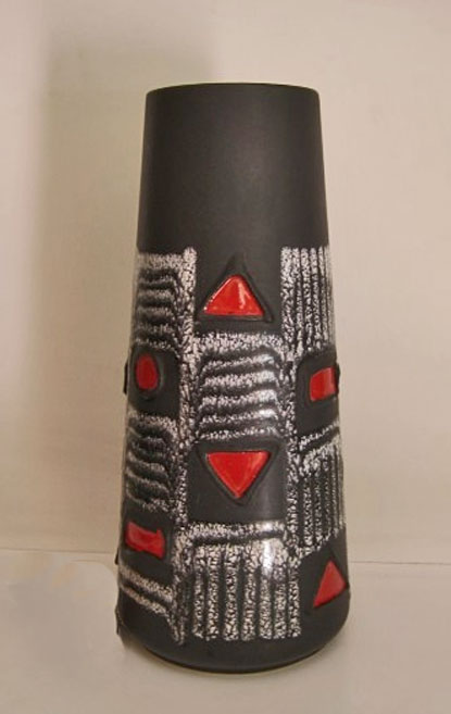 Imposing-vase-made-by-Schlossberg-c1960 West-German tapered cylindrical vase