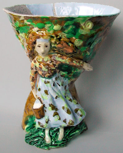 Marina Nelyubina vase wiith relief figure if a girl