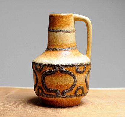 VEB Haldensleben (East Germany) Mid Century handled vase with fat lava geometric pattern