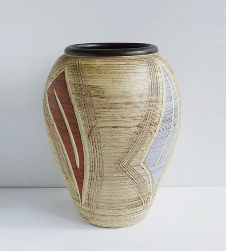 West German incised surface decorated Vase - Sawa 1950s