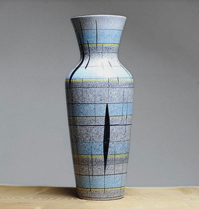 Bay West-German retro vase with geometric squares