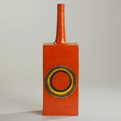 Guido Gambone red geometric modernist bottle with yellow circle motif