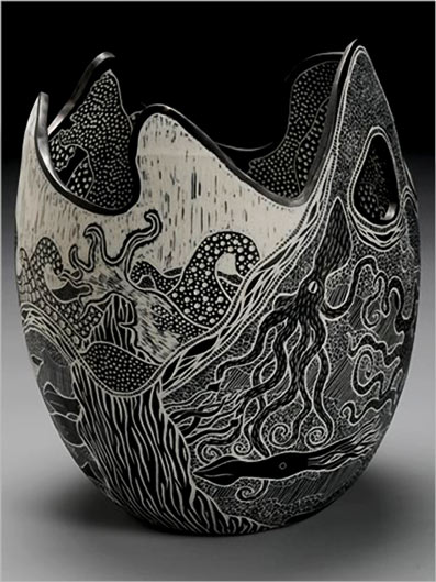 Sgraffito porcelain 'Hardwork' - Tim Christensen  Abstract wave form ceramic vessel with etched sea life surface