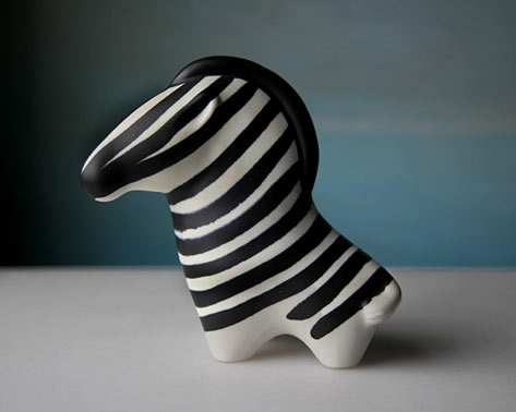 Vintage Arabia ceramic Zebra, 1963 Finland
