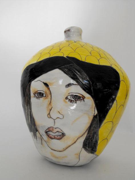 moodie girl-print-motif cearmic vessel - Pauline- Doyle