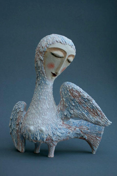 'Ptica' - Elya Yalonetskaya ceramic sculpture of a girl with the body of a bird
