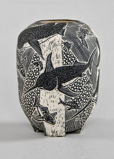 swordfish+and+mackarel+11 inch ovoid vase high -Tim Christensen