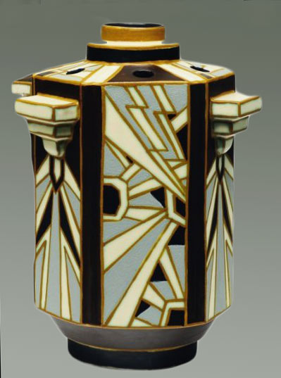 Art Deco six sided vase