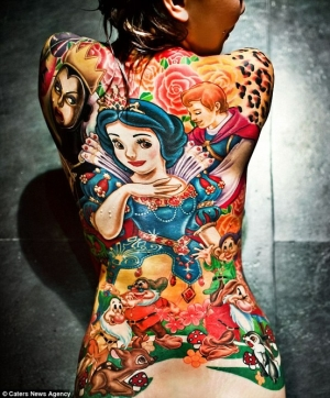 snow-white-tattoos on a girls back