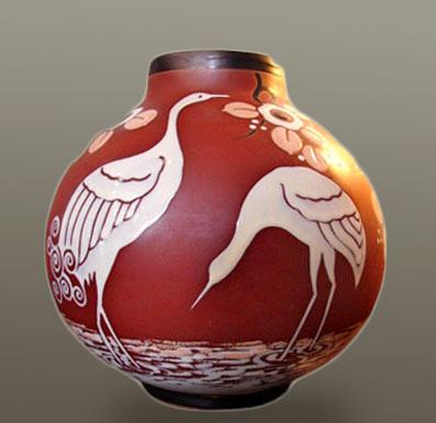 Vase with crane motif - Charles Catteau