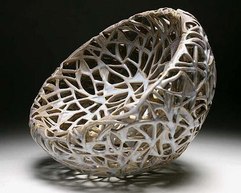 Cory-Lum,-Birdnest - Double walled vessel thrown as one piece then carved by Diane KW.