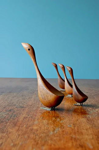 Modernist Danish family of teak figurine birds
