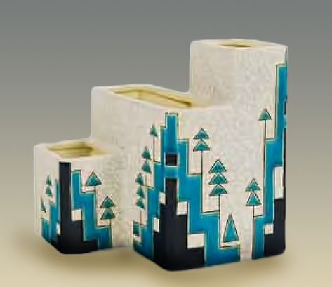 Charles Catteau Art Deco vase geometric patterns