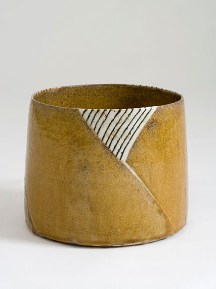 Gertrud Vasegaard contemporary ceramic vessel - mustard brown with black and white triangle panel