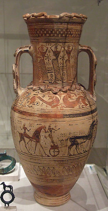 Terracotta neck-amphora (storage jar) Greek, Attic, fourth quarter of the 8th century BC