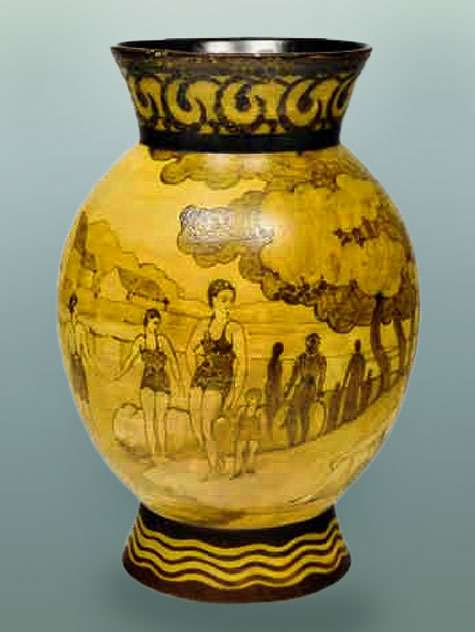 Charles Catteau,Vase decorative figures in bathing costumes
