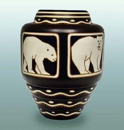 Charles Catteau Polar Bear Motif Vase